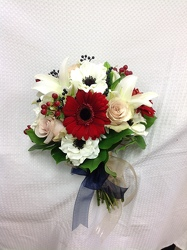 Hand tied Red & White Crush Bouquet  from Young Floral Co in Charleston, WV