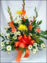 Young's Own  Orange, White & Yellow Funeral Basket from Young Floral Co in Charleston, WV