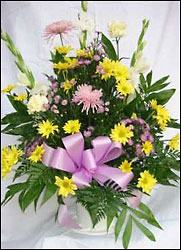Young's Own Yellow & Lavender Funeral Basket from Young Floral Co in Charleston, WV