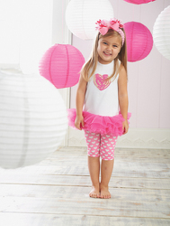 Mud Pie Valentine's Day Heart Tunic and Short Set in 2T/3T from Young Floral Co in Charleston, WV
