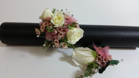 Blush and Bashful Corsage & Boutonniere Set  from Young Floral Co in Charleston, WV