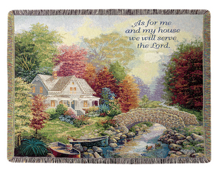 We Will Serve The Lord Tapestry Throw by Thomas Kinkade  from Young Floral Co in Charleston, WV