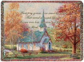 Amazing Grace - Chapel In The Woods Tapestry Throw from Young Floral Co in Charleston, WV