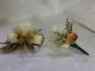 Youngs Own Glitter Gold Corsage & Boutineer Set  from Young Floral Co in Charleston, WV