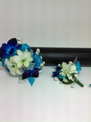 Blue Hawaiian Corsage & Boutonniere Set   from Young Floral Co in Charleston, WV