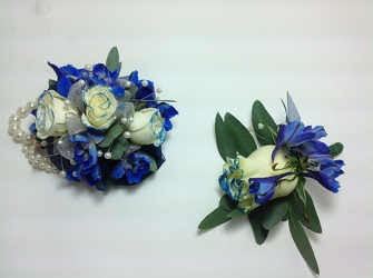 Young's Own Tipped Blue Corsage & Boutineer set   from Young Floral Co in Charleston, WV