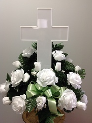 Youngs Own Light Up Cross Cemetery Vase  from Young Floral Co in Charleston, WV