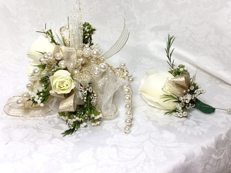 Young's Own Bell of the Ball Corsage & Boutineer set  from Young Floral Co in Charleston, WV