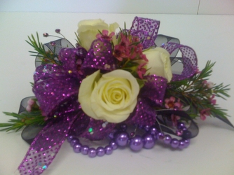 Purple White Corsage from Young Floral Co in Charleston, WV