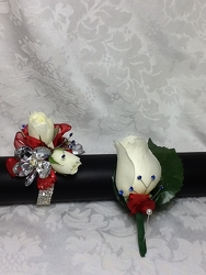 Red White and Beautiful Corsage and Boutonniere Set  from Young Floral Co in Charleston, WV