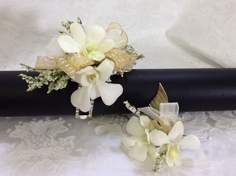 Youngs Own Gold Showstopper Corsage and Boutonniere Set  from Young Floral Co in Charleston, WV