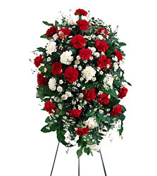 Crimson & White Standing Spray from Young Floral Co in Charleston, WV