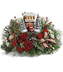 Thomas Kinkade's Festive Fire Station Bouquet from Young Floral Co in Charleston, WV