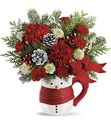 Send a Hug Snowman Mug Bouquet by Teleflora from Young Floral Co in Charleston, WV