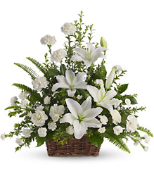 Peaceful White Lilies Basket from Young Floral Co in Charleston, WV