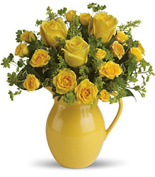 Teleflora's Sunny Day Pitcher of Roses from Young Floral Co in Charleston, WV