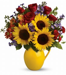 Teleflora's Sunny Day Pitcher of Joy from Young Floral Co in Charleston, WV